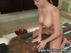 Asian hot massage babe sucks client cock