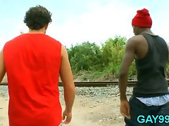 Black gay fucks white pal