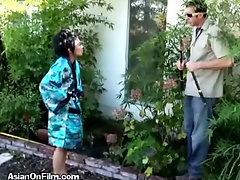Asian Slut Invites Peeping Tom In To Play