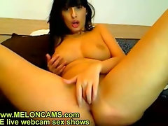 Sexy brunette masturbating on live webcam show