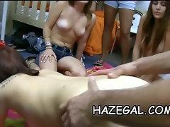 Oiled babes in lesbo fun