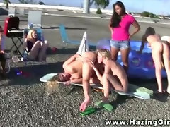 The hazers witness their pledgers trying to get inot their group