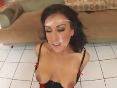 Sluts take a bunch of cumshots to the face