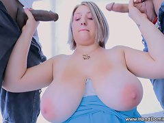 2 big dicks are SUPER hard for her big boobs