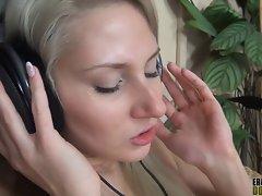 blonde wearing headphones while having sex full