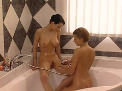 Michelle Wild &amp, Petra Short taking a shower