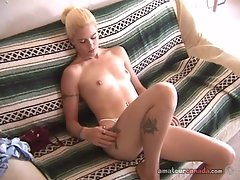 Shy geek blonde girlfriend from Canada fingers petite pussy