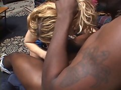 Sexy blond babe gives head job