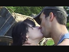 sex a la ferme, french brunette teen in threesome 4