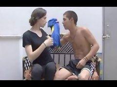Teen crossdresser with a boy