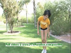Tasha sexy brunette teenage works out and gets naked and posing