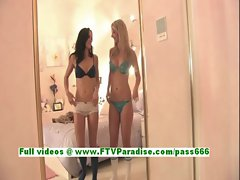 Kirsten and Natalie awesome lesbian babes toying pussy on the bed