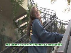 Hayley lovely brunette babe fingering pussy on the stair