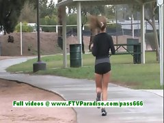 Patricia superb brunette teenage public flashing tits and pussy outdoor