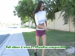 Sandra superb brunette teenage works out and public flashing tits