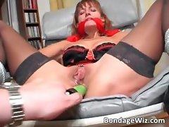 Tied up slut gets badly drilled in her