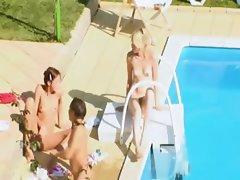 Three chicks secret erotica by the pool