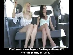 Three superb adorable lesbian babe talking and undressing in the car