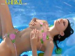 brunett russian princess swimming