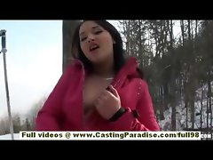Lana gorgeous brunette european teen babe fingering outdoor