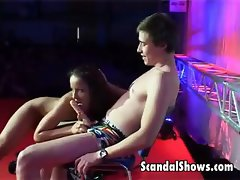 Horny stripper pleasuring a lucky guy