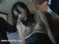 Unique Japanese slut fingered