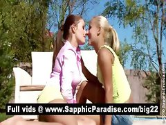 Gorgeous brunette and blonde lesbos kissing and having lesbo sex