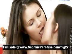 Superb brunette lesbos licking and toying pussy and having lesbo love