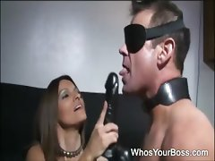 Passionate femdom in high heels spanks and dildos a butt naked guy