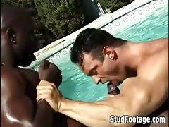 Interracial poolside gay anal fucking