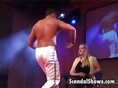 Male striper seducing a sexy girl