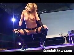 Hot girl sticks dildo in her both holes