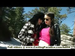 Tuesday Cross and Rilee Marks latina brunette lesbians with piercing and natural tits kissing outdoor