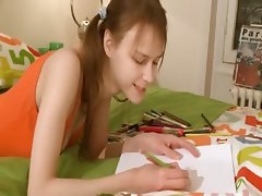 Nasty homework of sweet babysitter