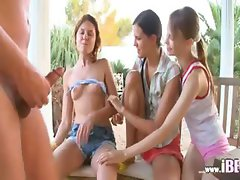 Lucky fag fucking three girls
