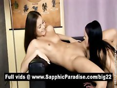 Angellina and Dulce lesbians fingerig and licking pussy and having lesbian love