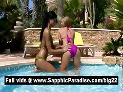 Ashely and Natali blonde and brunette lesbians kissing and having lesbian sex