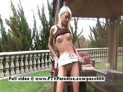 Kori stunning skinny amateur blonde girl outdoor posing