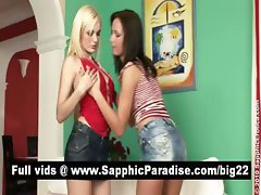 Bianka and Kissy blonde and brunette lesbians kissing and having lesbian sex