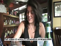 Brianne stunning brunette cute girl showing tits at the restaurant
