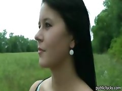 Beautiful amateur babe offered money and boned in public
