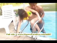 Yua Aida asian does blowjob and fucking by the pool