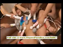 Risa Tsukino asian doll is tied and toying