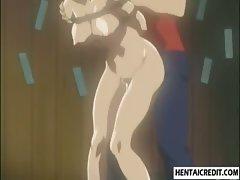 Bound hentai girl sucks and fucked