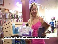 Tamara stunning long hair blonde babe shopping toys