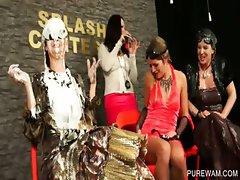 Four sluts get WAM at splash contest