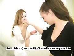 Awesome girls Tatiana and Samantha lesbian girls doing pierced tongues swapping