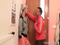Blonde hottie kissing an excited dude