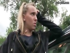 Euro chick stunned with the money offer and fucked outdoors