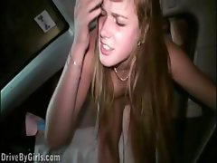 She sticks her bottom out the car door and gets drilled deep